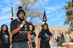 Student on hunger strike at University of Missouri pauses during a press conference