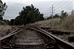 Worn railroad tracks somewhere in Ohio